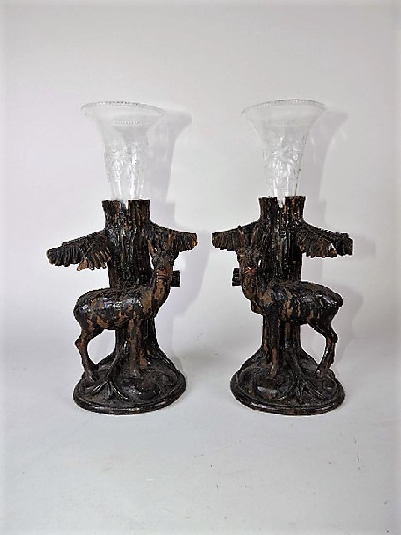 Black Forest carved wooden pair of deer figural vases