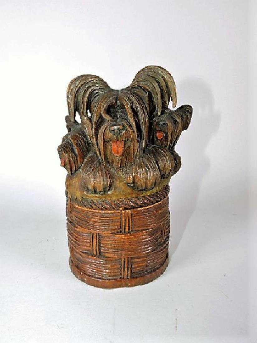 """Wood carved basket of puppies humidor, 6 3/4"""""""