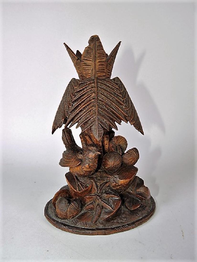"Black Forest carved wooden vase with bird, 7 1/2"""