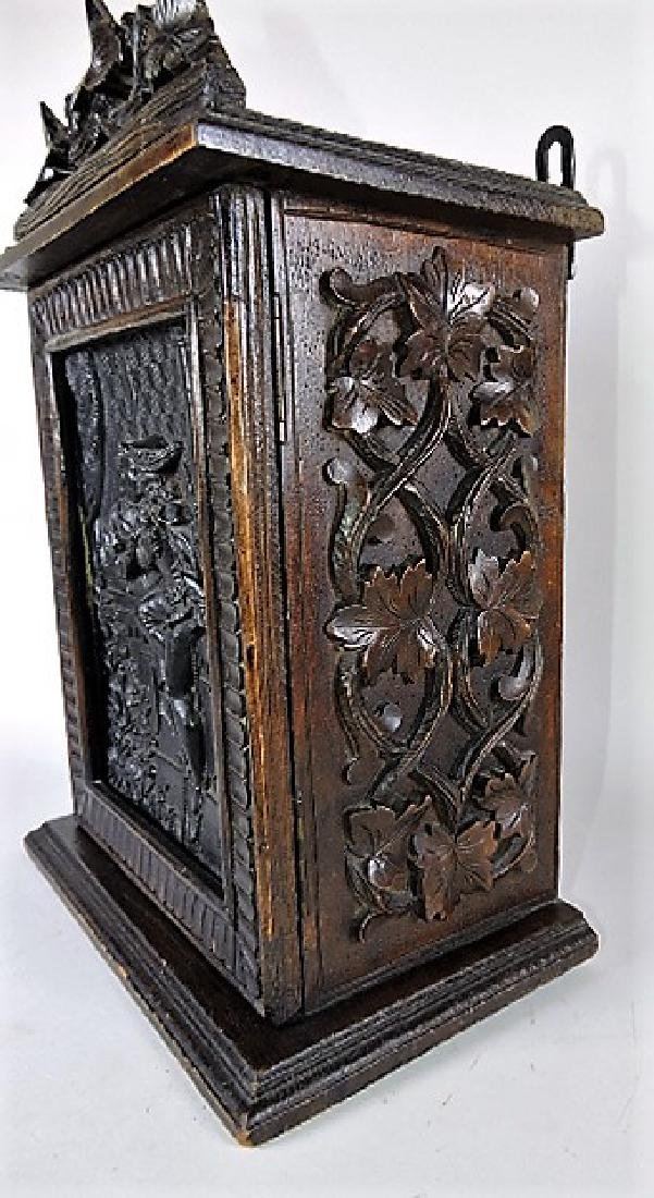 Black Forest carved wooden wall cabinet with romantic - 3