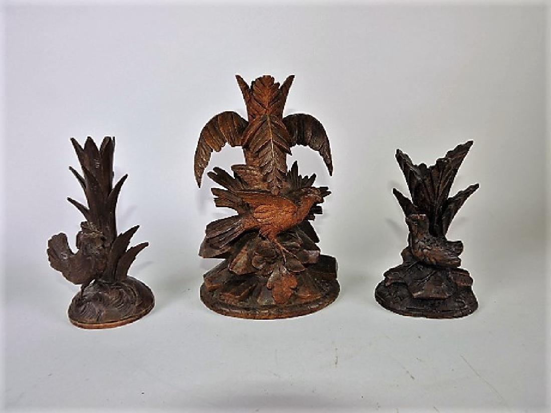 """Black Forest carved wooden lot of 3 bird vases, 5 1/4"""""""