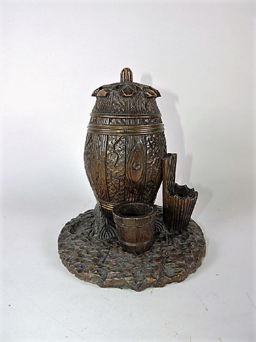Black Forest carved wooden humidor/match striker, 7