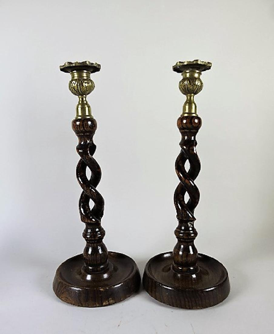 "Wood carved pair of twisted candle holders 12"", with"