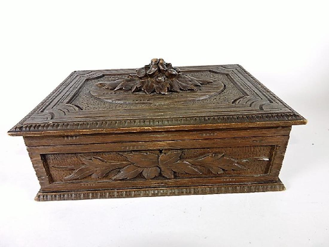 "Black Forest carved wooden box with hinged lid, 14""w,"