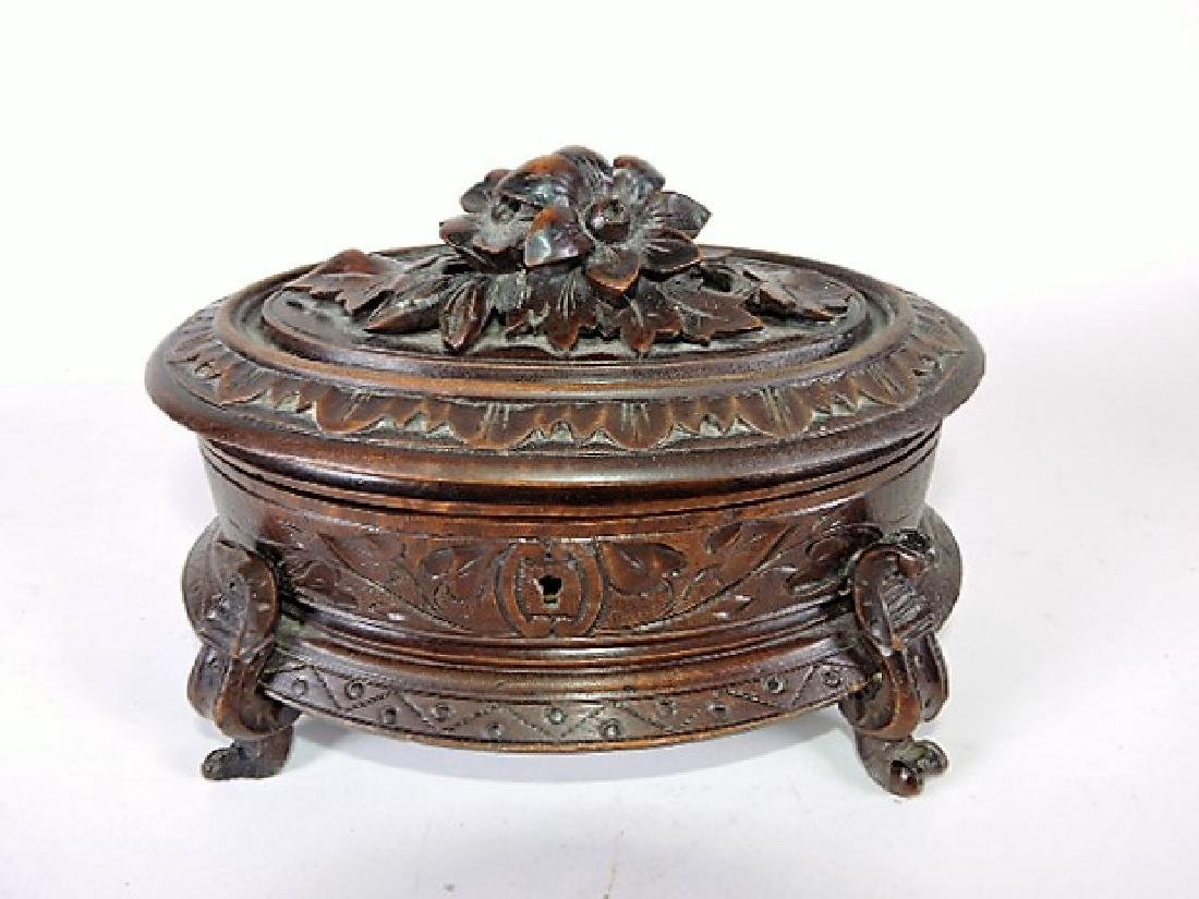 """Black Forest carved wooden box with hinged lid, 7 1/2"""""""