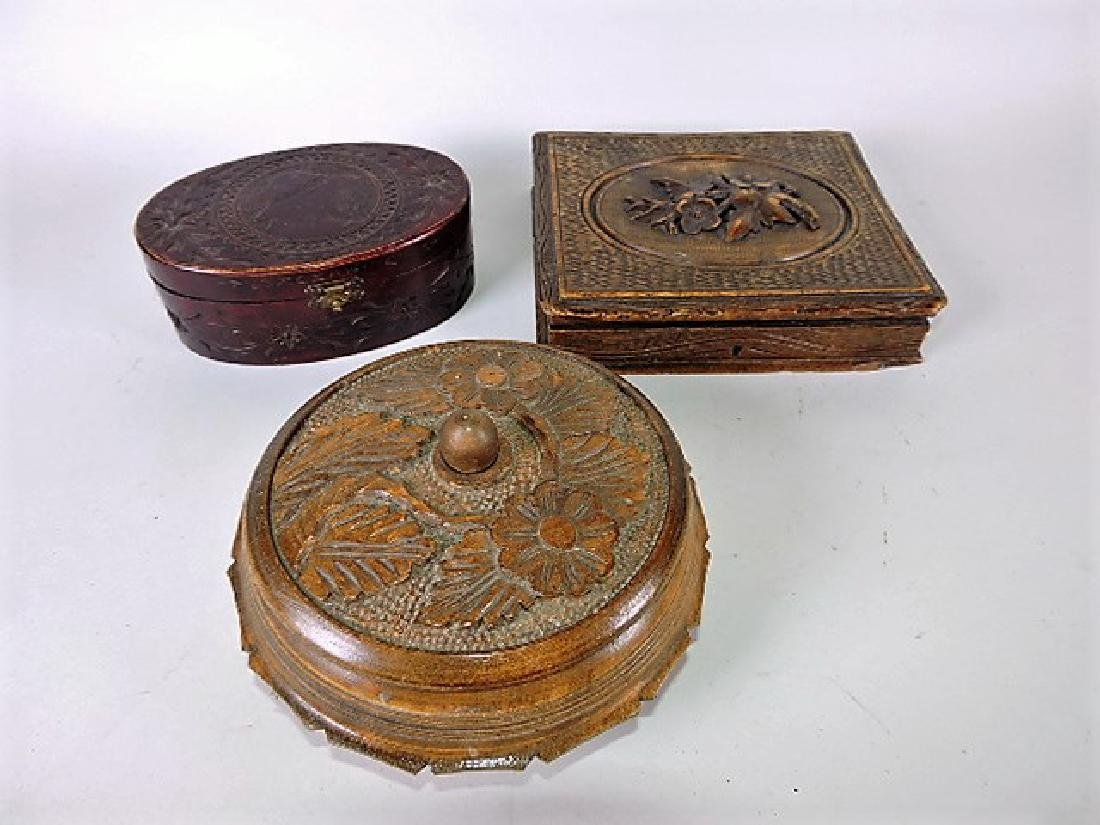Carved wooden box lot of 3