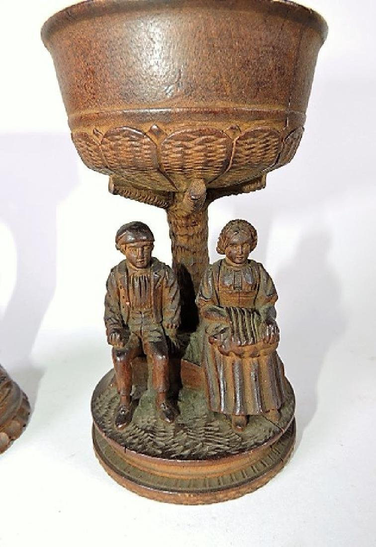 Black Forest carved wooden pair of cups, one with two - 3