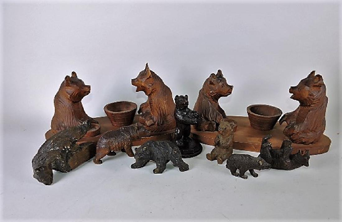 Black Forest carved wooden collection of 9 bears