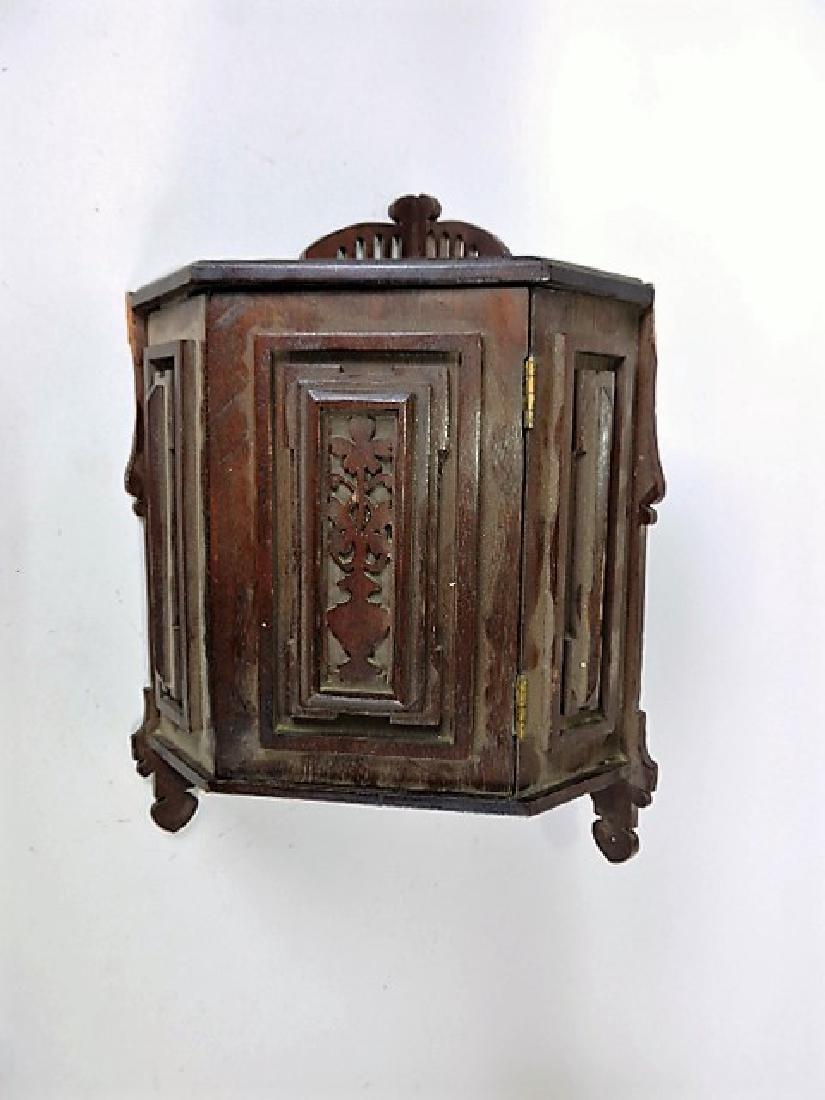 """Walnut small corner wall cabinet 14""""h, 9""""w, minor"""