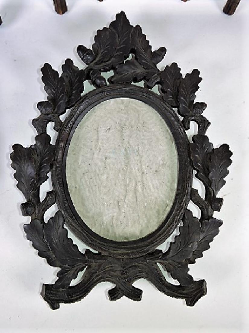 Black Forest carved wooden lot of 4 picture frames, - 3