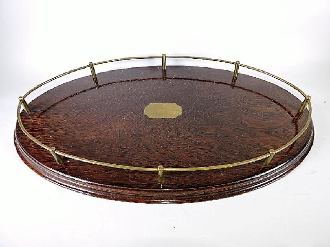 Large oval oak tray with brass gallery rail