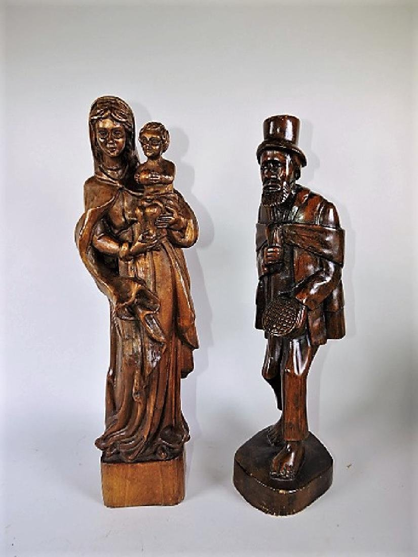 """Wood carved figures, lot of 2, 19"""", 18"""""""