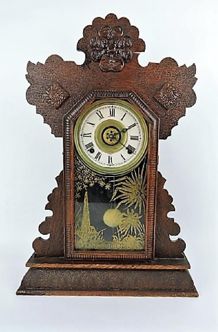 Oak kitchen clock, top finial re-attached