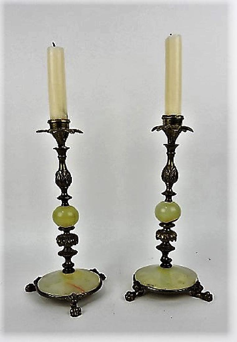 """Pair of bronze and onyx candle holders, 10"""","""