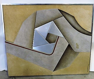 Mid Century Modern fabric and stainless wall art