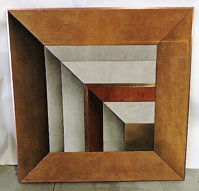 Mid Century Modern fabric and metal wall art,