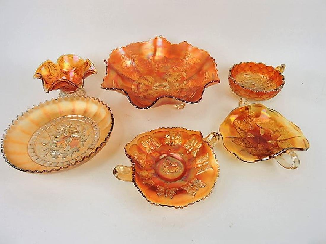Marigold carnival glass lot of 6 bowls and nappies