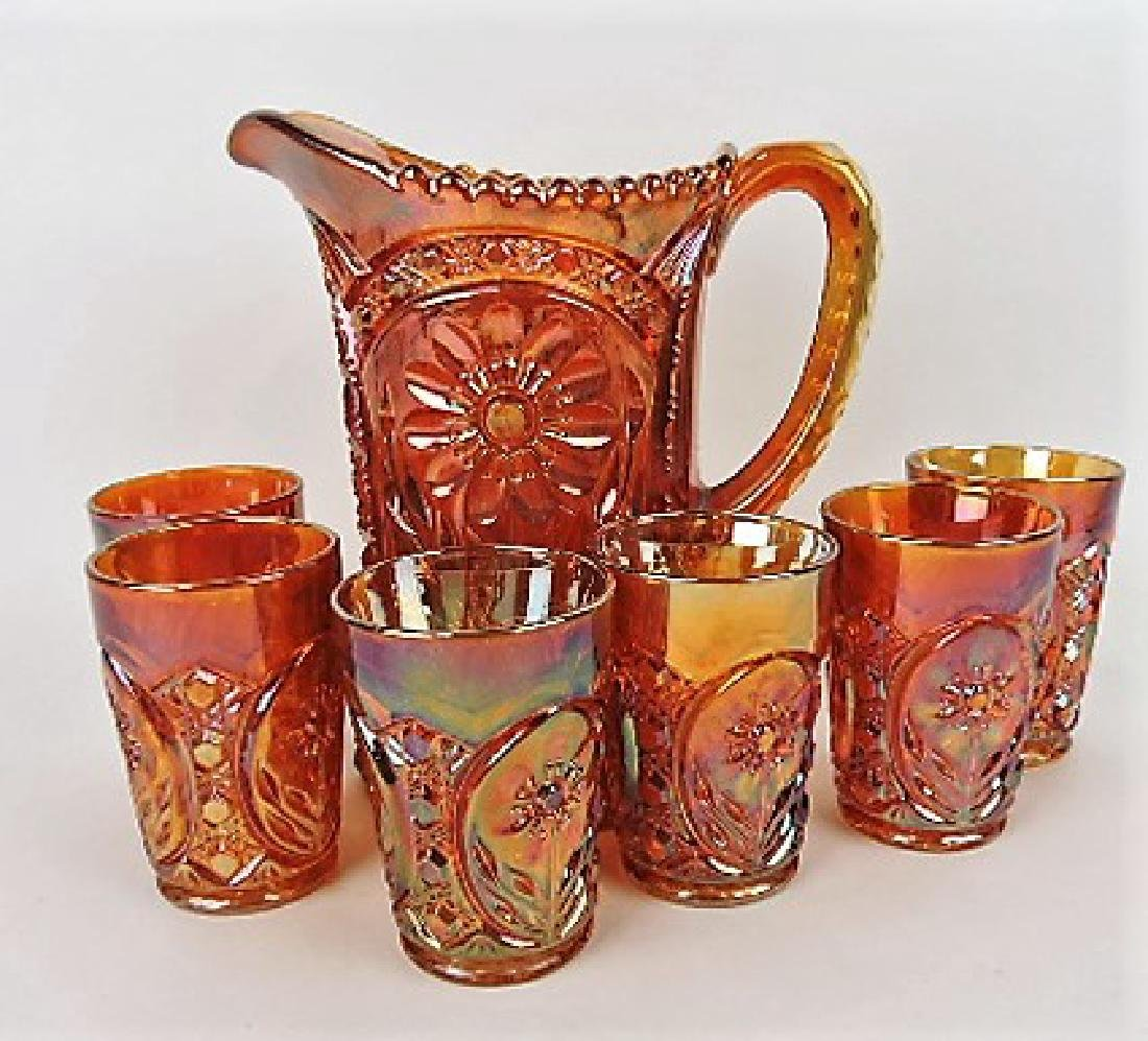 Imperial marigold carnival glass 7pc water set