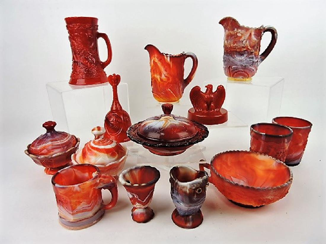 Imperial & Fenton red slag lot of 14 assorted pcs