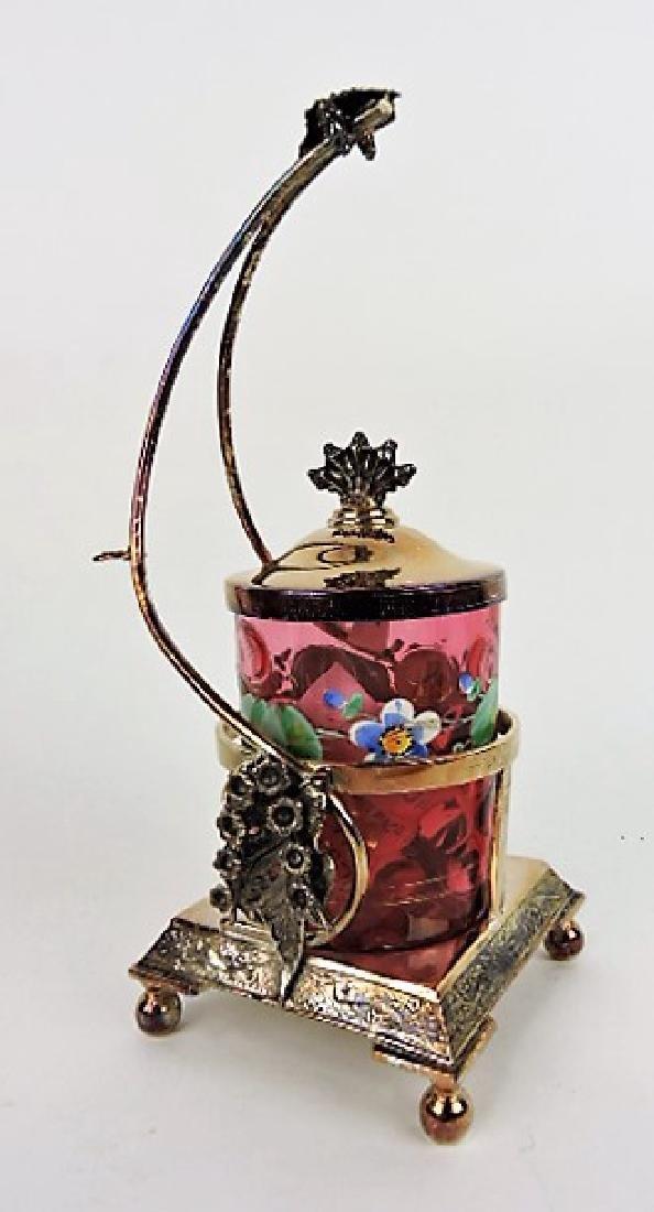 Pickle castor with floral enamel insert