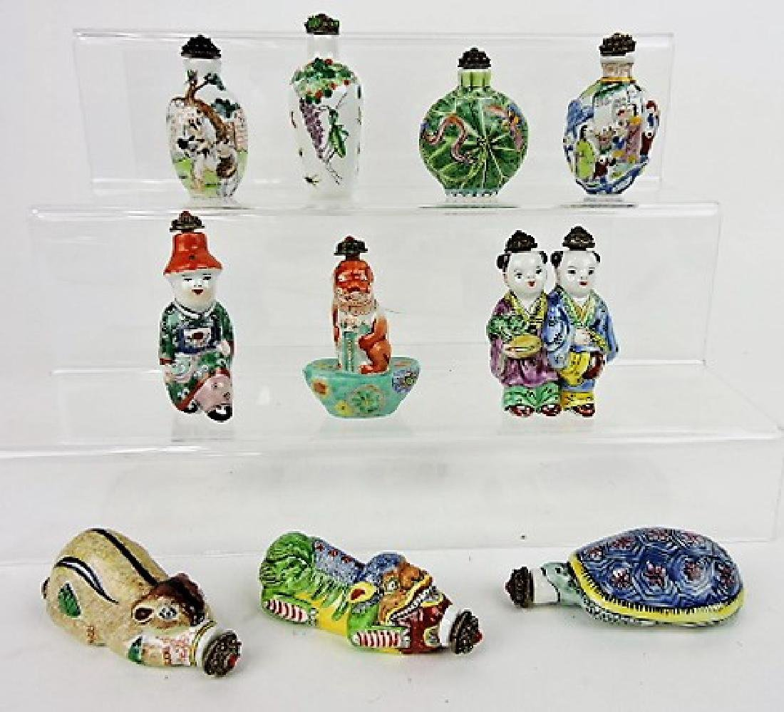 Chinese lot of 10 ceramic snuff bottles