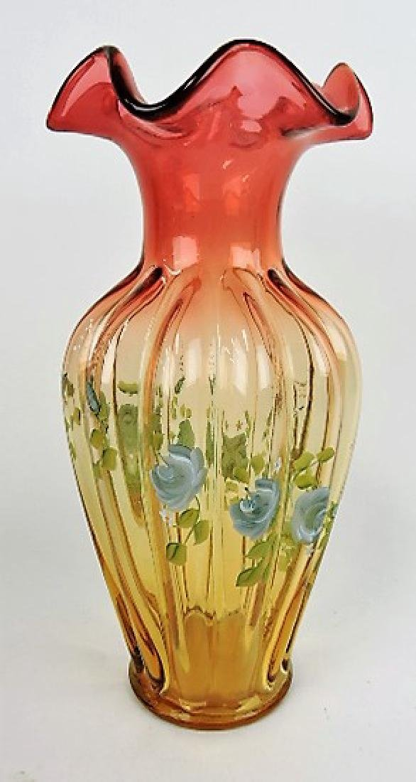 Fenton amberina glass vase with floral enamel 11""