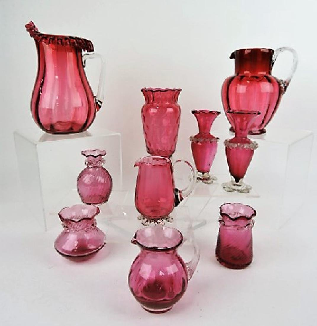 Cranberry glass lot of 10 assorted pcs