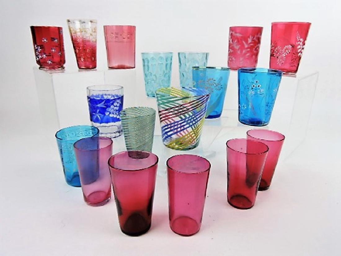 Art glass lot of 18 tumblers