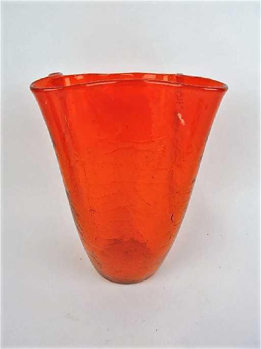 Blenko Orange Crackle Glass 11 Vase