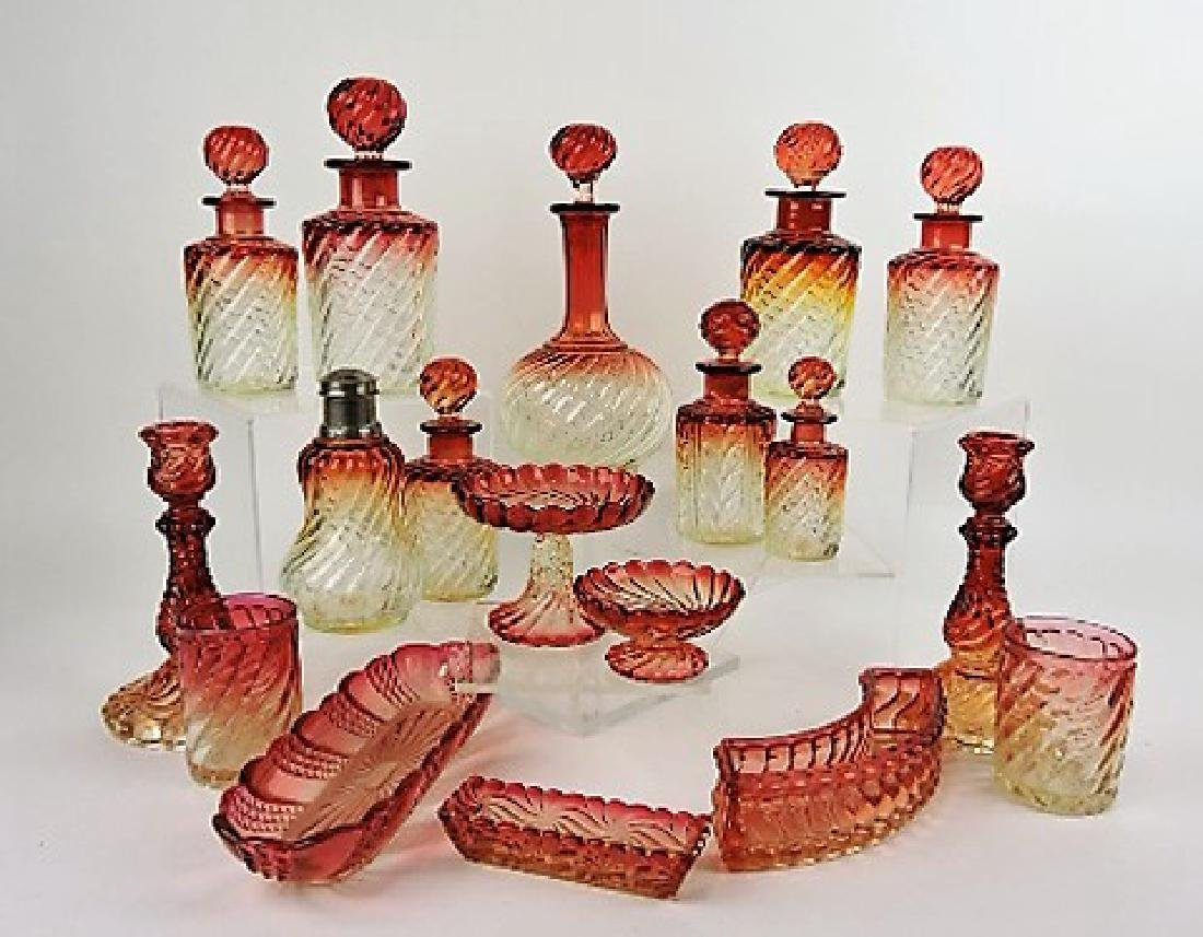 Baccarat Rose Tiente Swirl and other large lot of