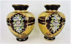 Moser style pair of amber ruby flash vases with