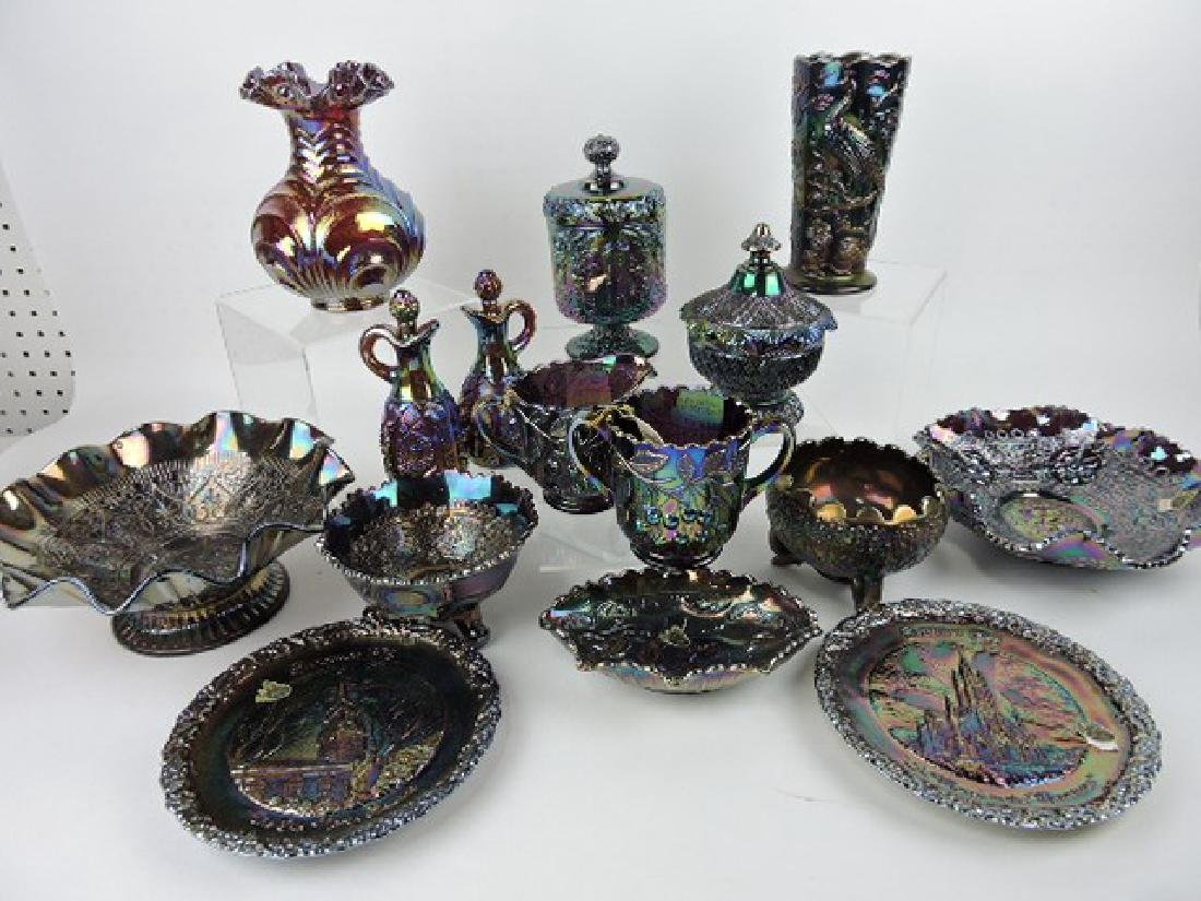 Fenton amethyst carnival glass lot of 15 pieces