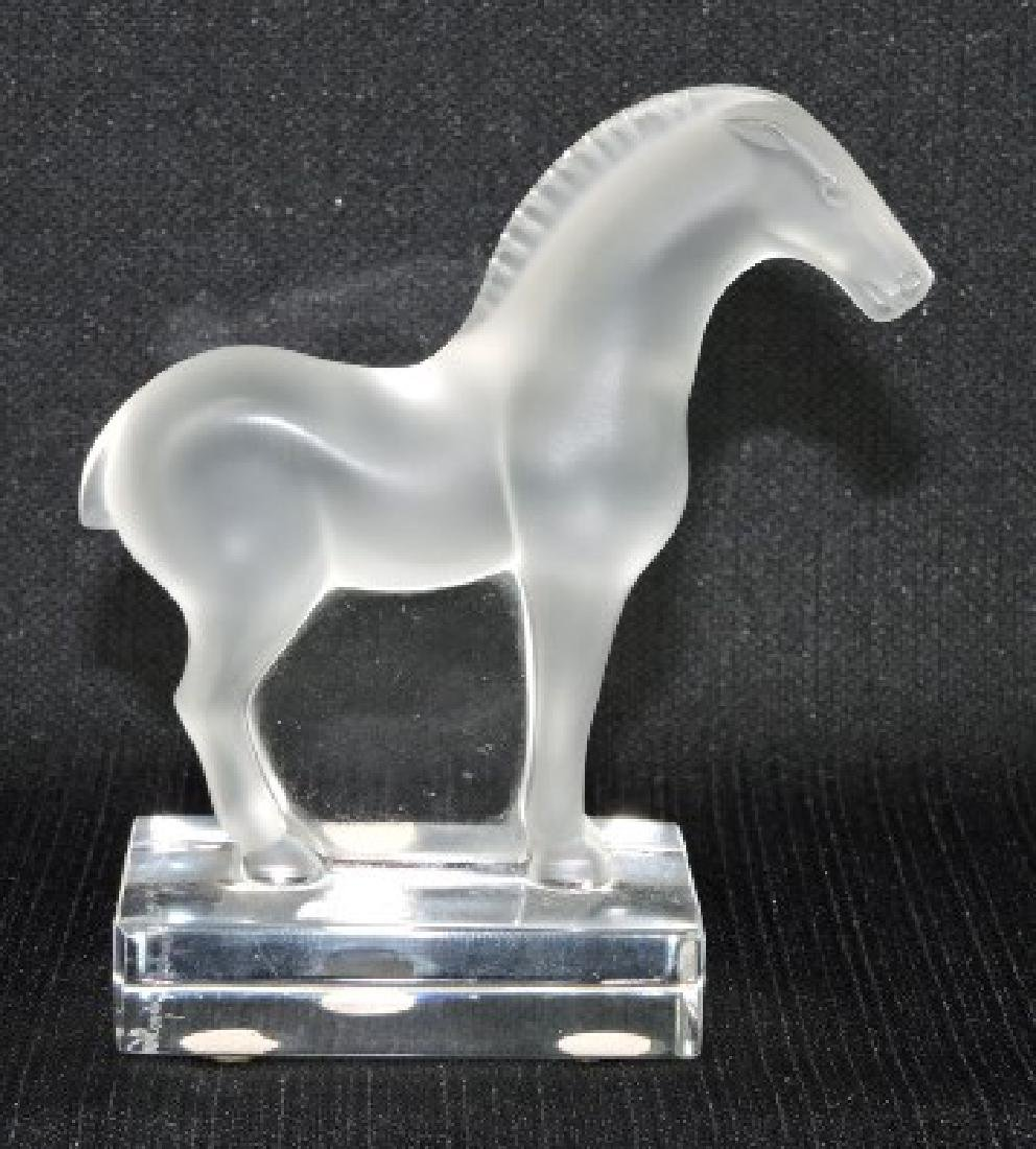 Lalique frosted glass Tang horse, 4""