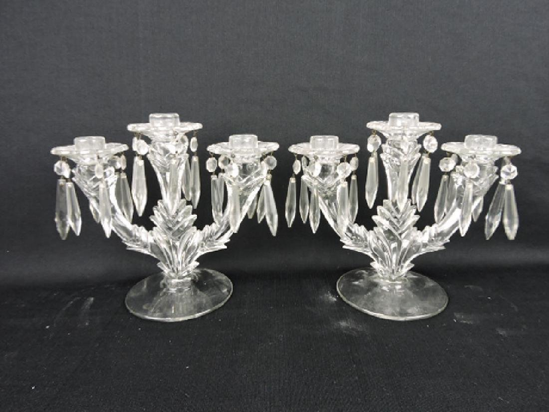 Fostoria pair of 3-lite candle holders with prisms