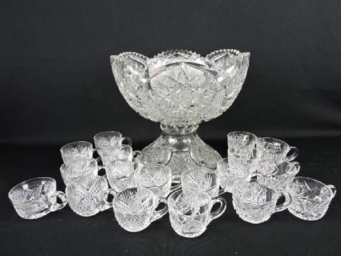 Cut glass two piece punch bowl with 18