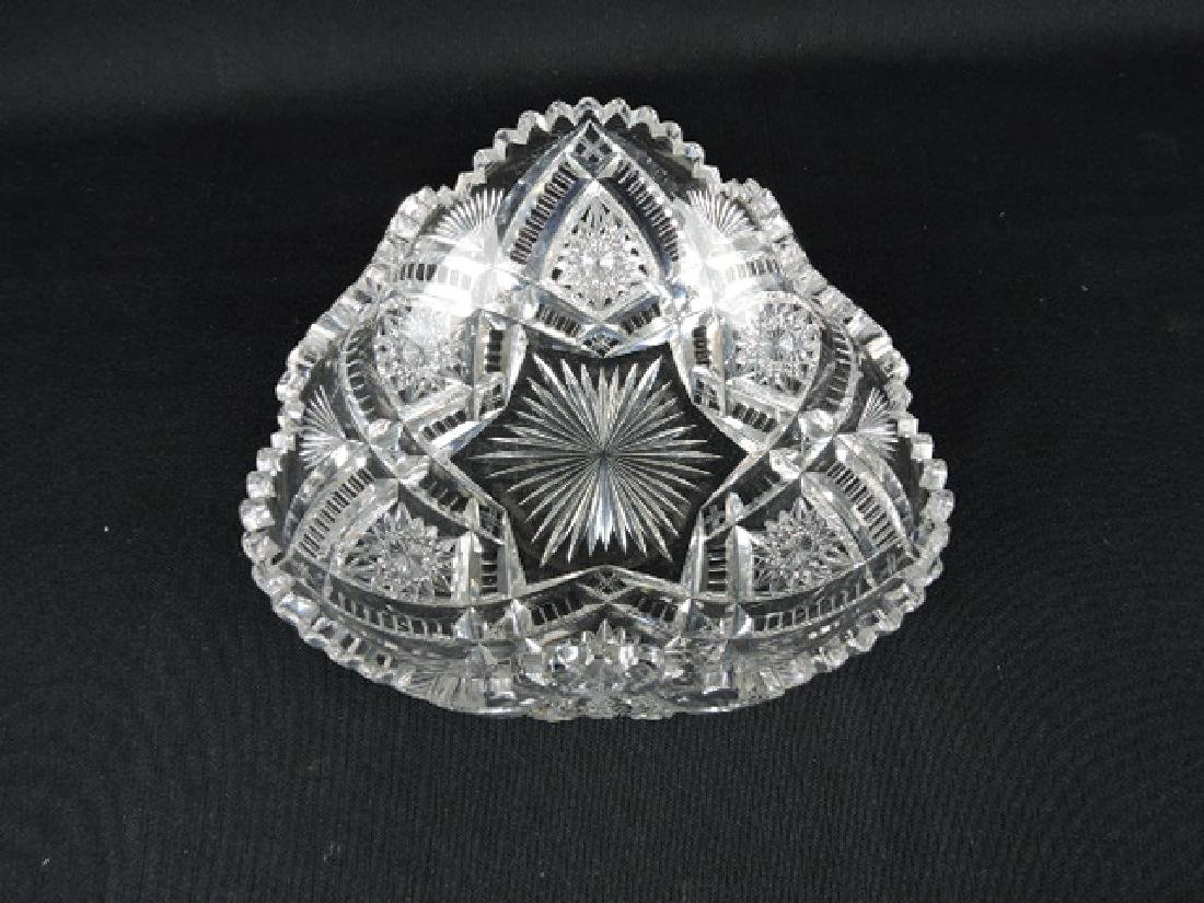 Cut glass signed Libbey tri-corned bowl with