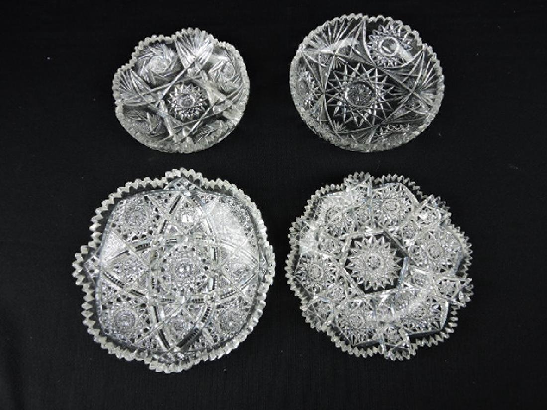 Cut glass lot of 4 shallow bowls and plate, some