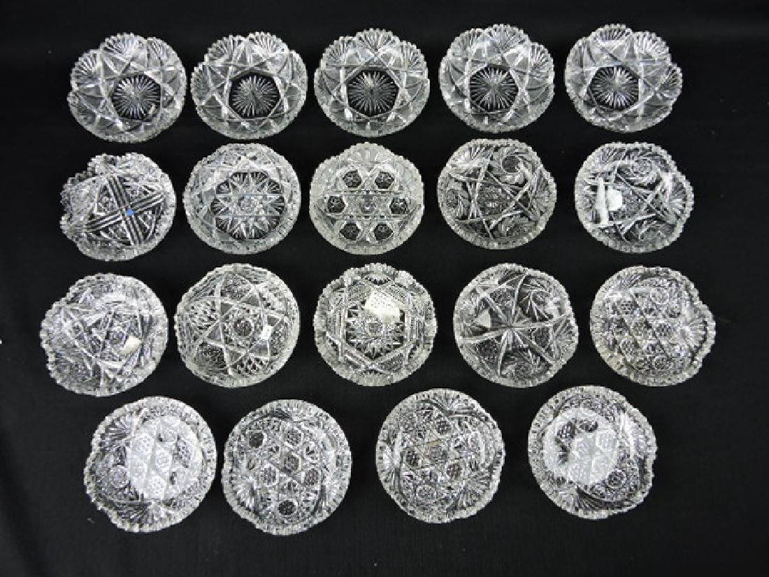 """Cut glass lot of 19-5"""" sauce and pin dishes"""