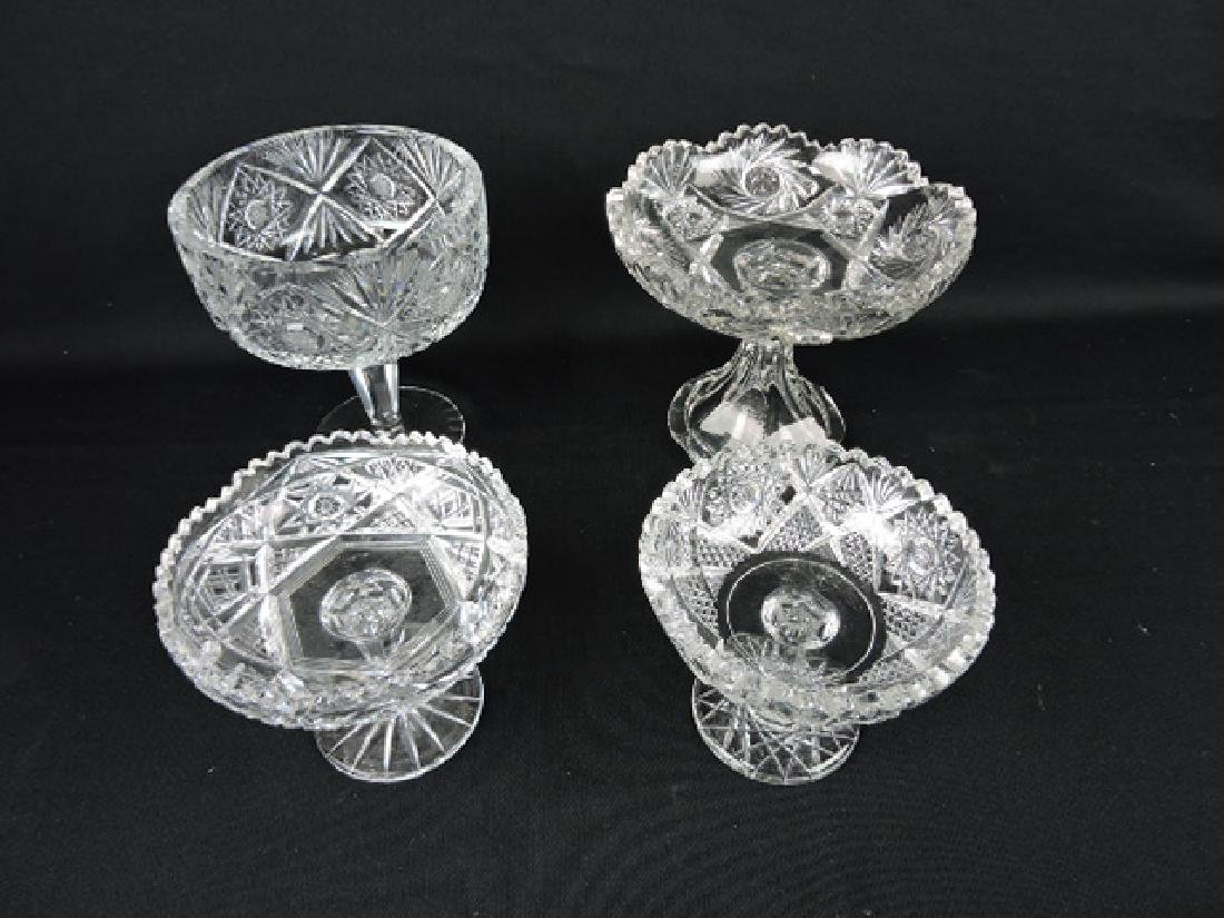 Cut glass lot of 4 compotes