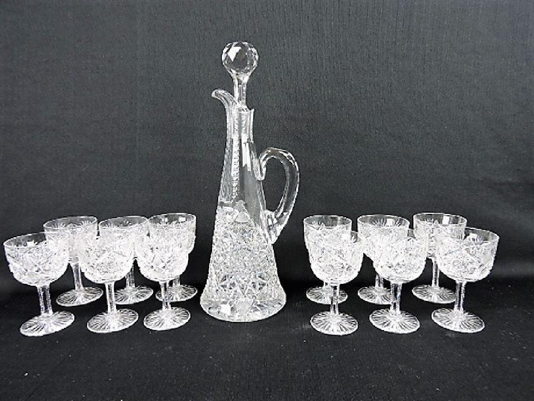 "Cut glass wine decanter 14"" and 12-4 1/2"" goblets"