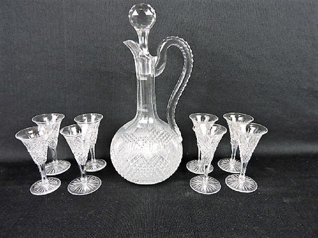"Cut glass wine decanter 12 1/2"" and 8-4 1/2"""