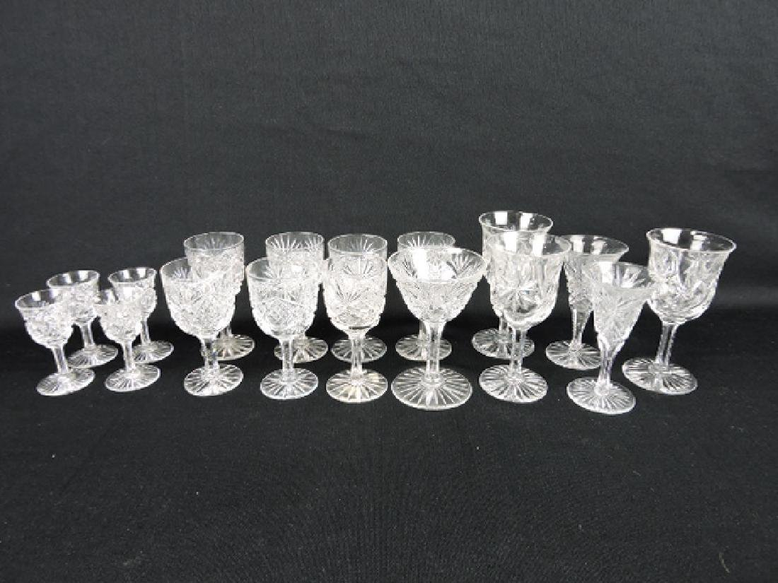 Cut glass lot of 17 wine goblets and cordials