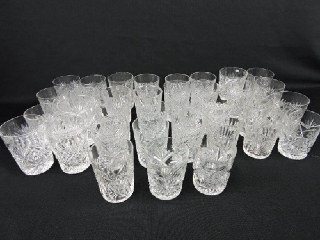 Cut glass lot of 35 water tumblers, some signed,