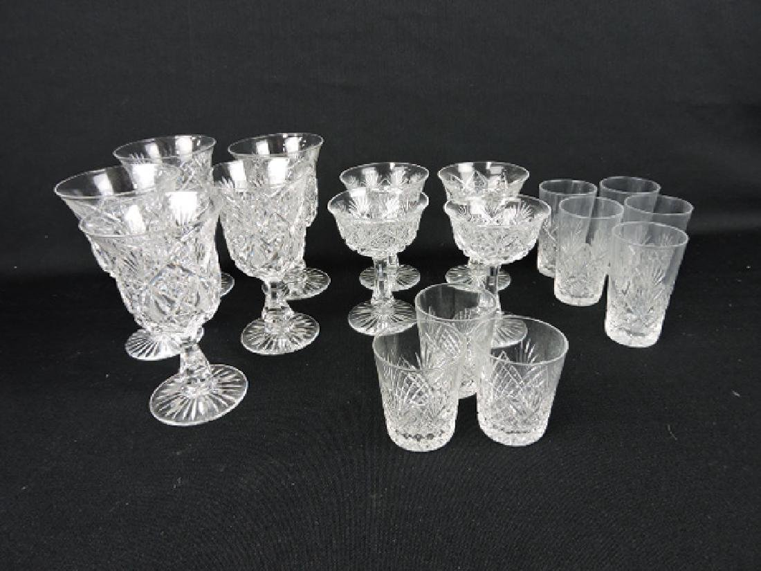 Cut glass lot of 16 goblets and tumblers