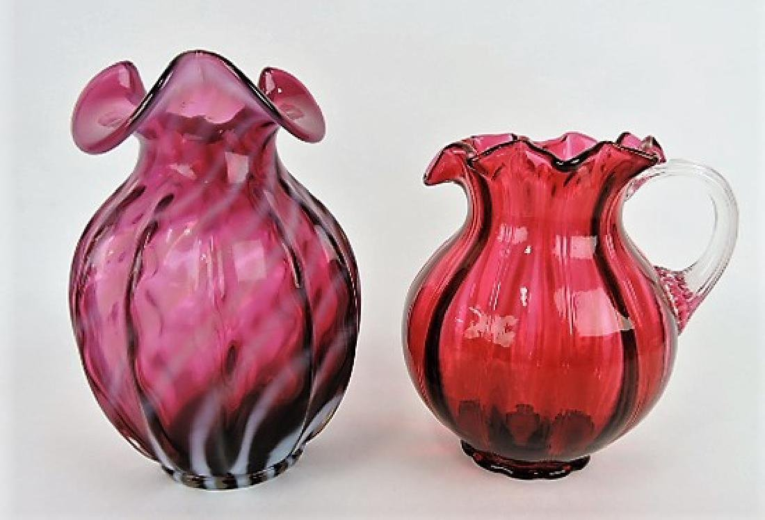 "Fenton plum opalescent swirl vase 8"" and cranberry"