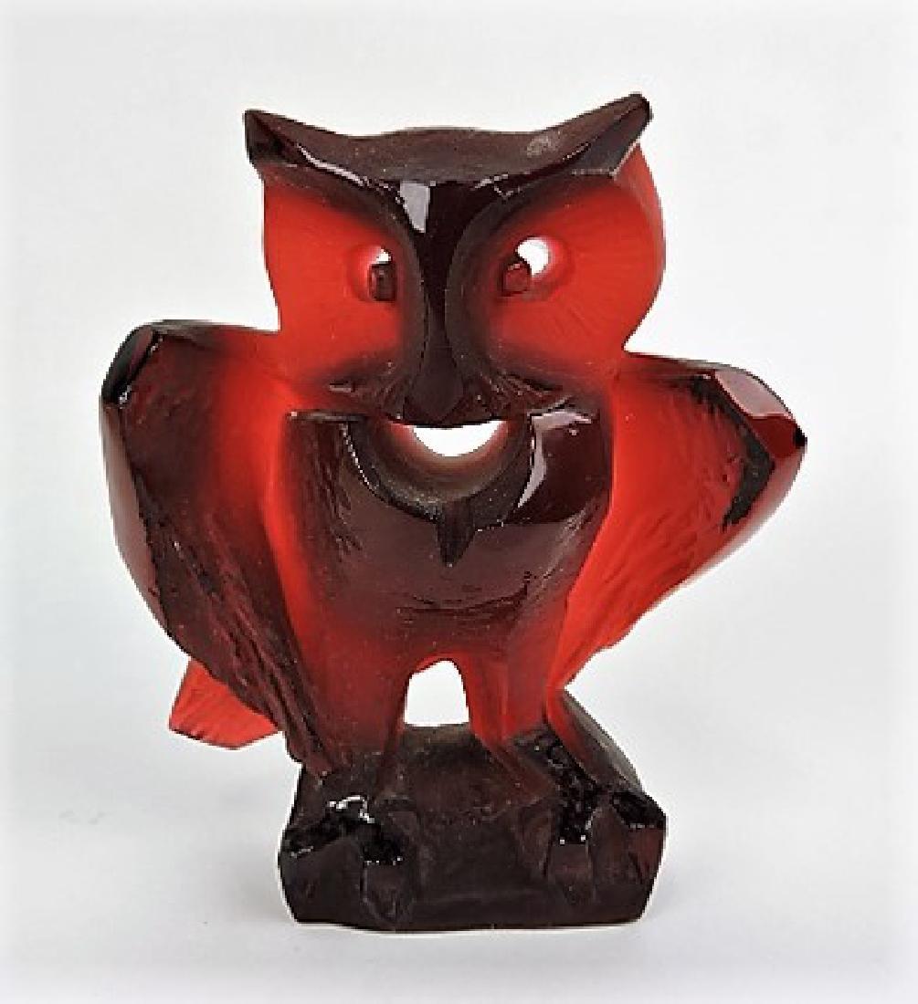Ceskei ruby Czech owl figurine