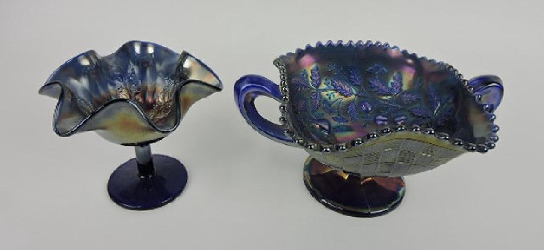Fenton blue carnival glass lot of 2 compotes