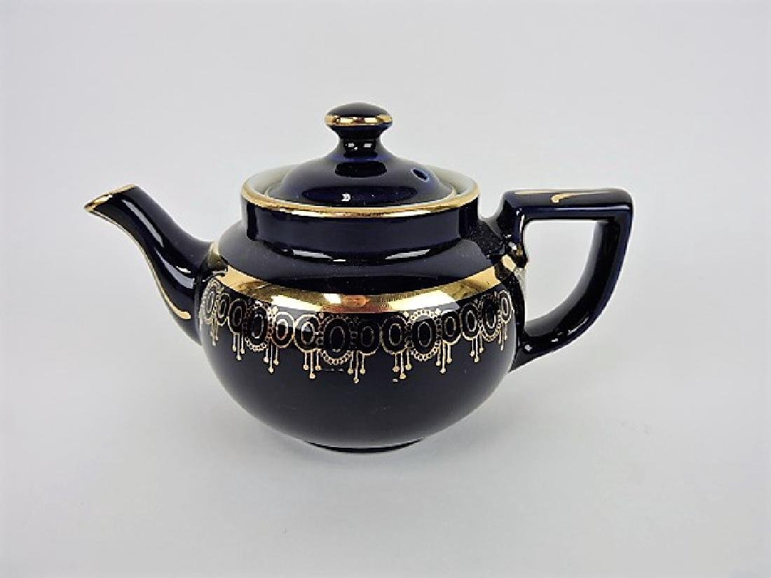 Hall China teapot, one cup, blue with