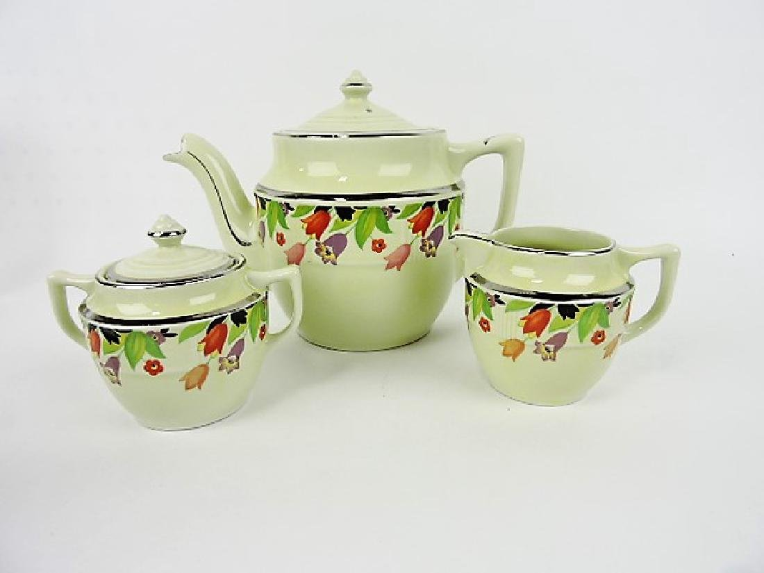 Hall China coffeepot with cream & sugar,