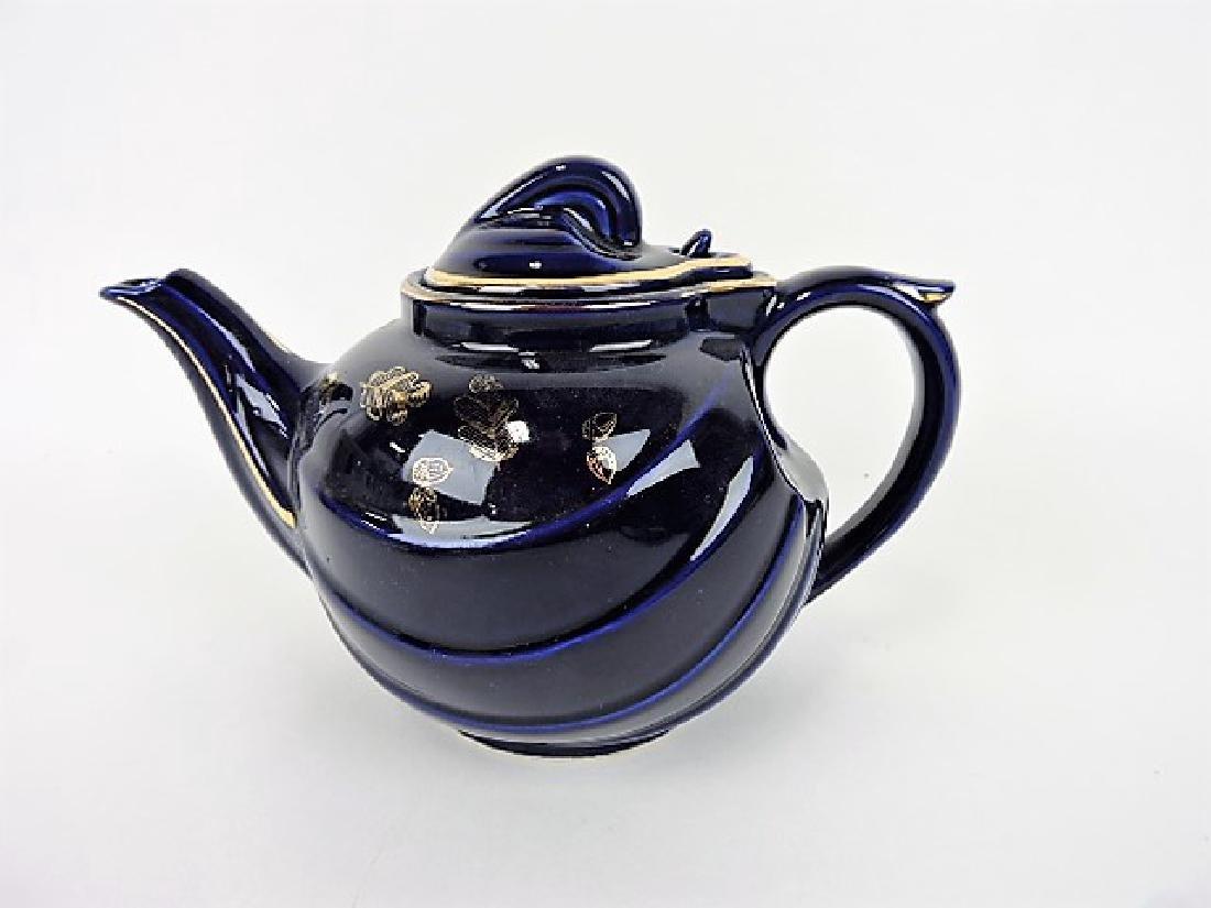 Hall China teapot, cobalt parade